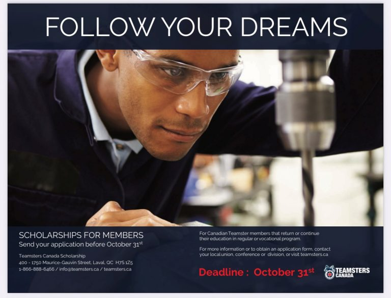 Teamsters Canada Scholarship for Members